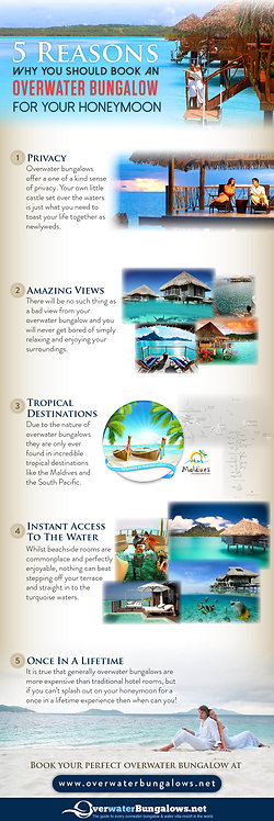 5 Reasons why you should book an overwater bungalow for your Honeymoon Infograph