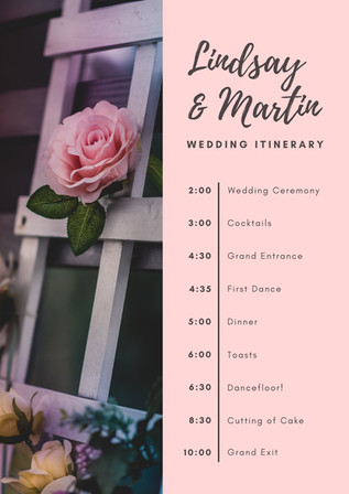 Pink and Charcoal Rose Floral Photo Wedding Itinerary