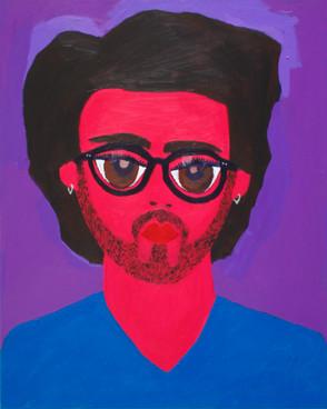 Self portrait in blue v-neck