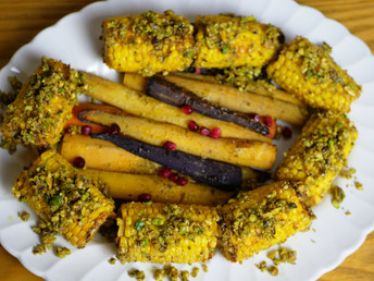 ROASTED CARROTS AND ROASTED CORN COVERED IN PISTACHIOS [VIDEO]