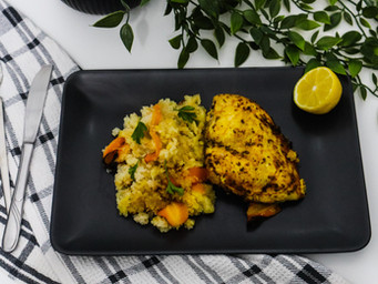 Baked Chicken with Barley and Cauliflower Rice