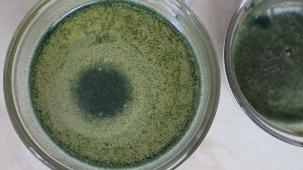 Spirulina shot with warm water