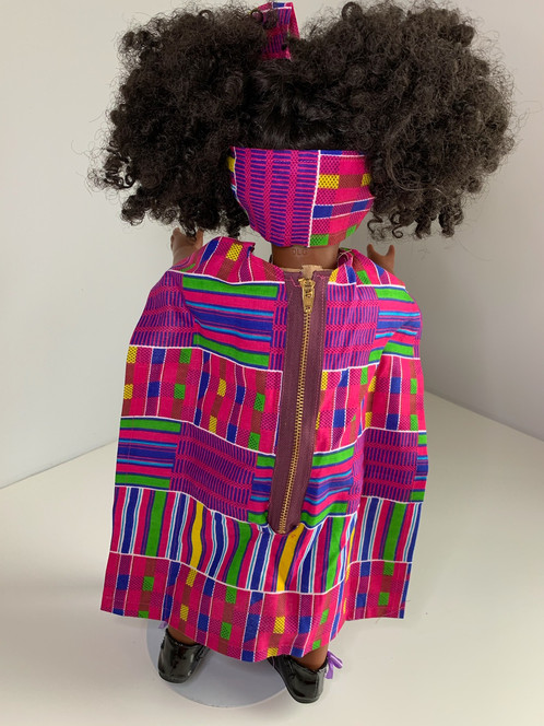 d184a5a45f22 Custom made African print dress designed to fit an 18in doll. The dress is full  length finished with a zipper in the back. The dress also comes with a ...