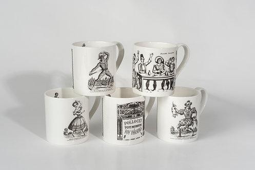 Set of 5 Bone China Mugs