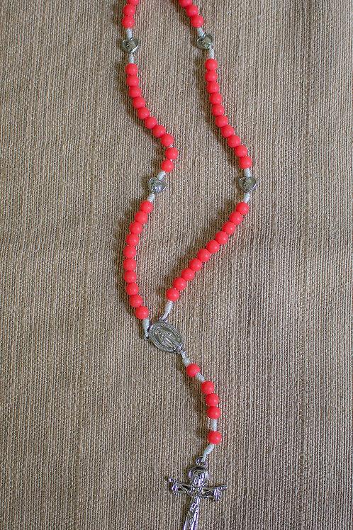 Terço bolinha vermelha fosca 6mm - Nossa Senhora das Graças - T04