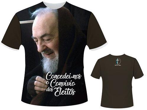 Camiseta São Padre Pio (Marrom) - Coleção Concedei o convívio dos eleitos