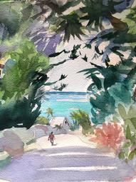 Walking in Bahamas, Watercolor