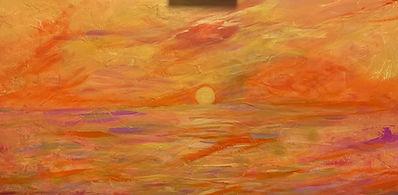 "Fiery sky with Gold 48x36"" acrylic $290.JPG"