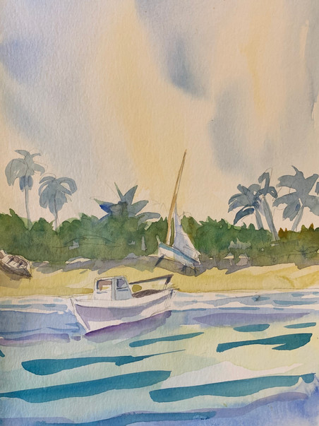 """Watercolour of boats, power and sail, 5x7"""" 2020"""