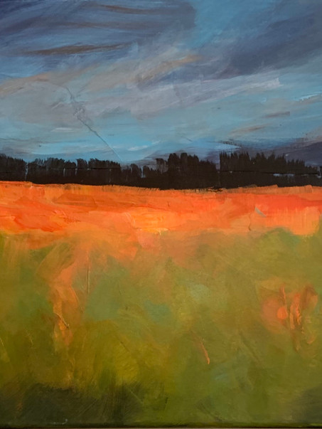 """End of the Day, night slides into view, trees are just shapes outlined on the horizon and the color changes on the meadow grow dimmer. This Abstract acrylic, 18""""x24"""" canvas. For sale $400.00"""
