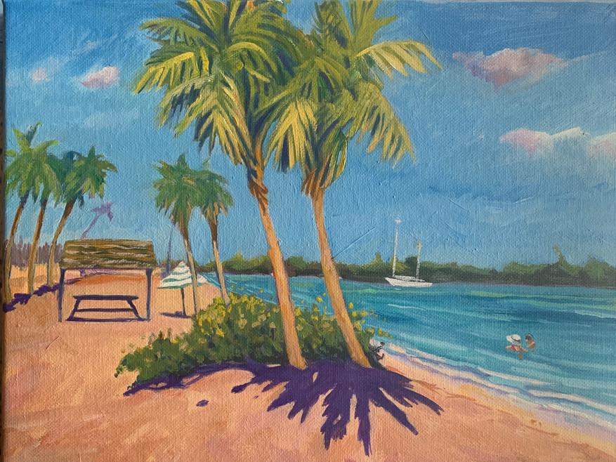 Ft Pierce beach oil on canvas 9x12 $280.JPG