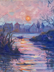 """*Along the Seine, oil on panel 8x10"""" $220 REDUCED"""