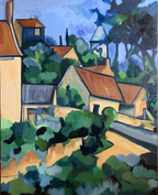 Cezanne village on a Hill 16 x 20 framed oil on canvas $445