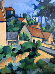 Cezanne village on a Hill 16 x 20_ oil o