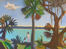 Walk before supper, Florida oil on panel
