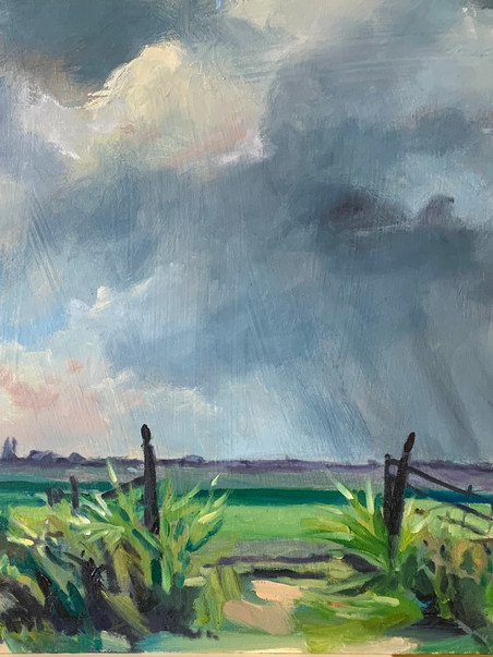 Norfolk view, UK, stormy day, oil on pan