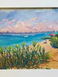 Early Morning Traffic at FT Pierce Inlet Framed 10x20 oil on Canvas $220