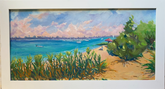 Early Morning Traffic at FT Pierce Inlet Framed 10x20 oil on Canvas $420