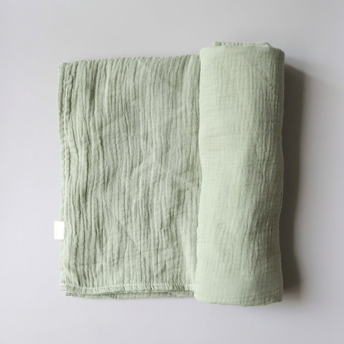 Mellow Singapore Muslin Wrap Baby Swaddle in Green