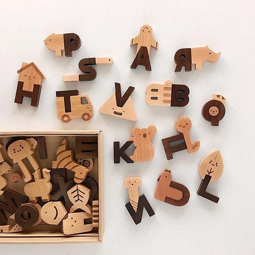 Oioiooi Wooden Alphabet Play Blocks