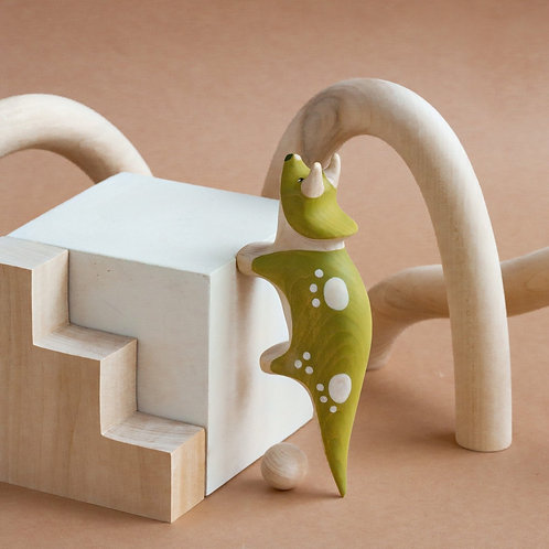Izvetvey Wooden Triceratops Dinosaur With Built-In Magnets
