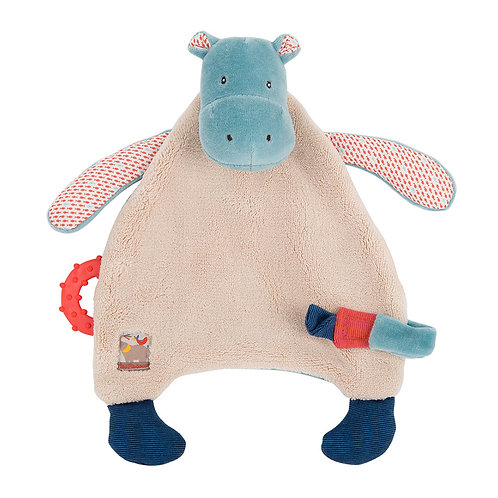 MOULIN ROTY  Les Papoum Hippo Doudou with Teether & Pacifier-holder 24cm