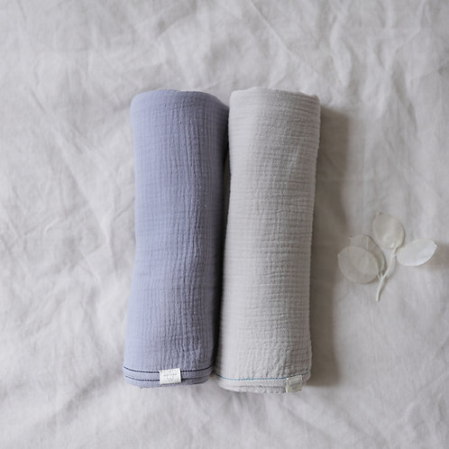Mellow Singapore Muslin Wrap Baby Swaddle in Grey and Blue