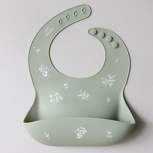 Mellow Singapore Waterproof Olive Branch Silicone Bib in Green