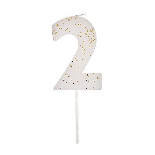 White Number 2 Candle