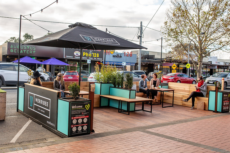 Parklets Melbourne Australia temporary Outdoor dining by Rightside