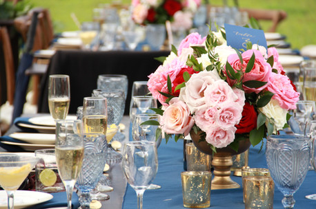 Blue Gold and Pink Table Set