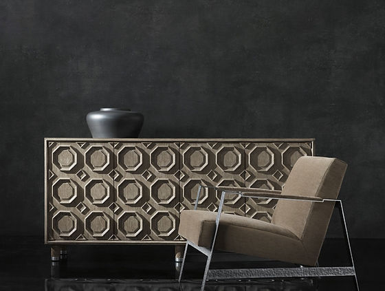 modern accent chair and wooden server