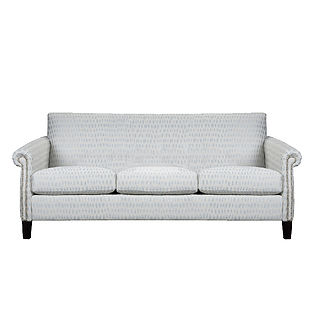 condo size sofa with rolled arms and nailhead trim