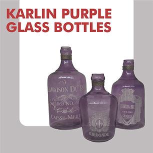 Set of short purple vases