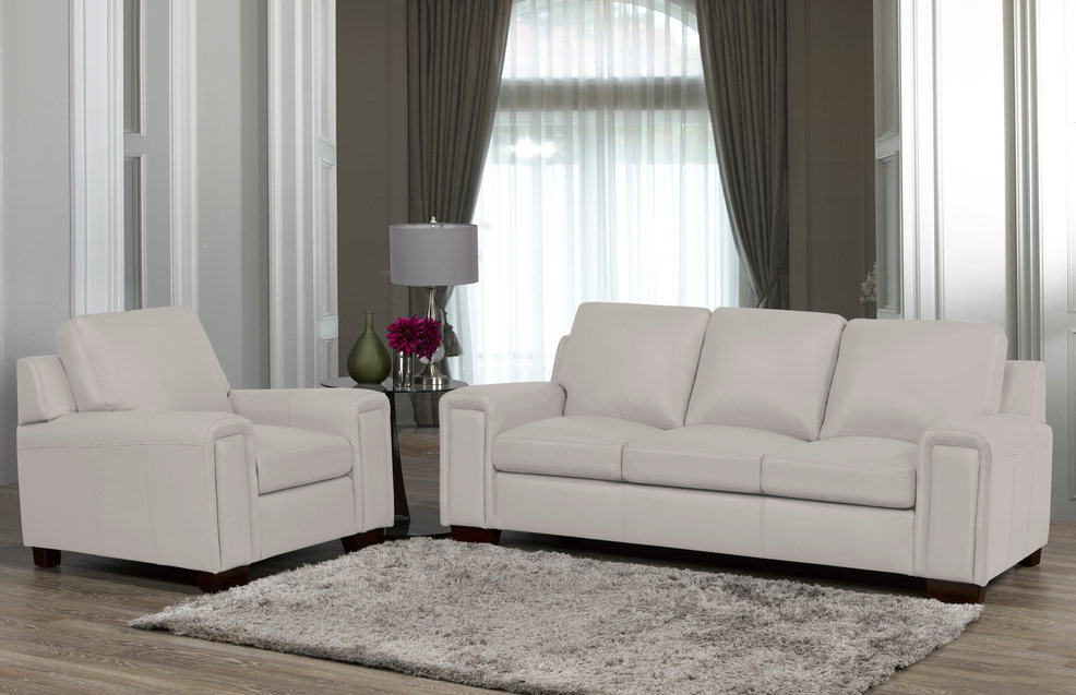 Sklar Peppler Home Leather Layla Sofa and chair in light grey.