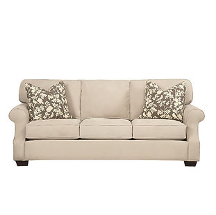 large traditional sofa with rolled arms and throw pillows