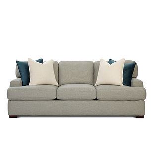 large deep seated sofa with throw pillows