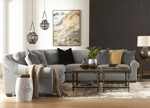 Large Grey Sectional in a transitional livingroom