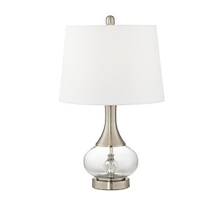 glass lamp with white shade