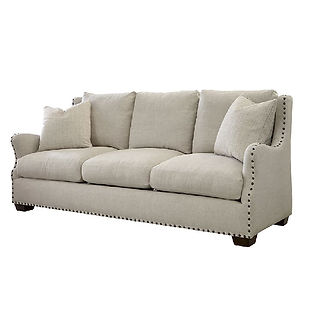 modern sofa with nailhead trim