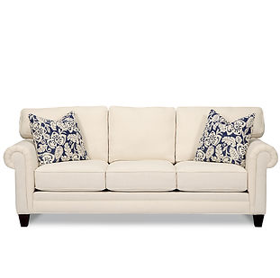 traditional sofa with pleated rolled arms