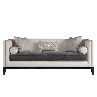 modern sofa with throw pillows and track arms