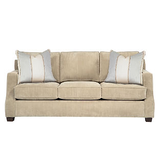 Transitional sofa with throw pillows