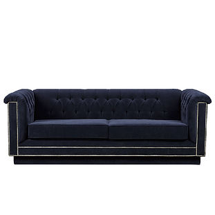 velvet tufted modern sofa with metal trim