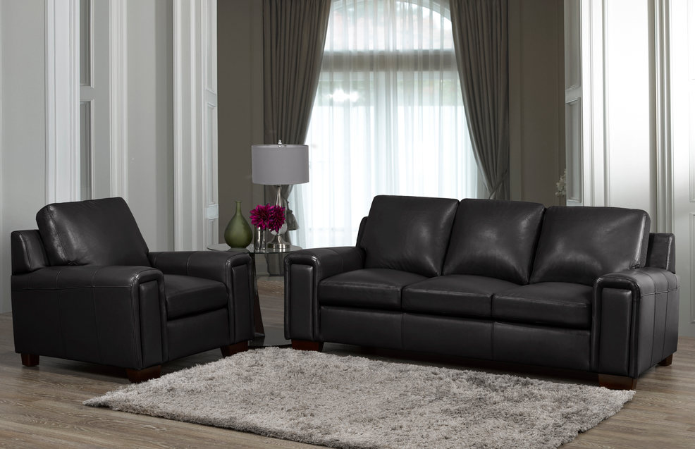 Sklar Peppler Home LeatherLayla Sofa in Black