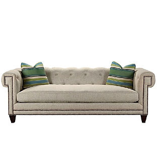 classic sofa with tufting and nailhead trim