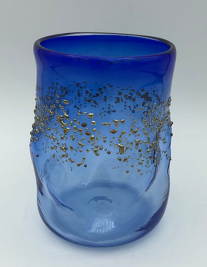 Blue glass with gold accents