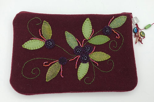 Embroidered wool multi purpose bag