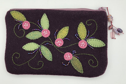 Embroidered wool multi purpose bag