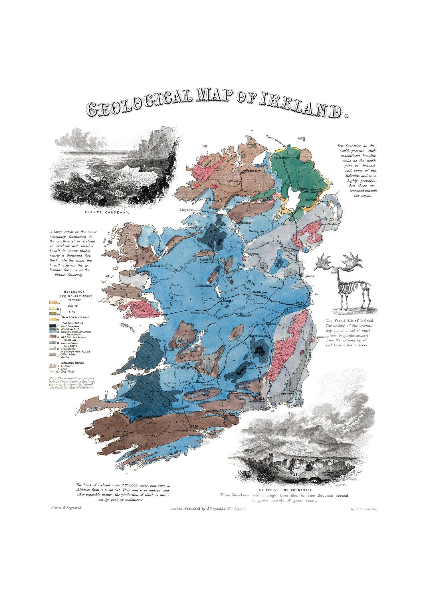 Geological Map Of Ireland 1850